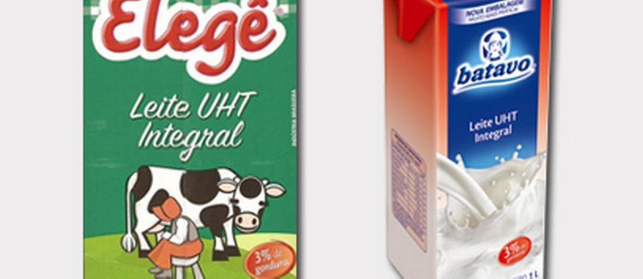 Lotes das marcas Elegê e Batavo, produzidos pela Brasil Foods, tem álcool etílico em sua composição Foto: Montagem sobre fotos / Criação Internet