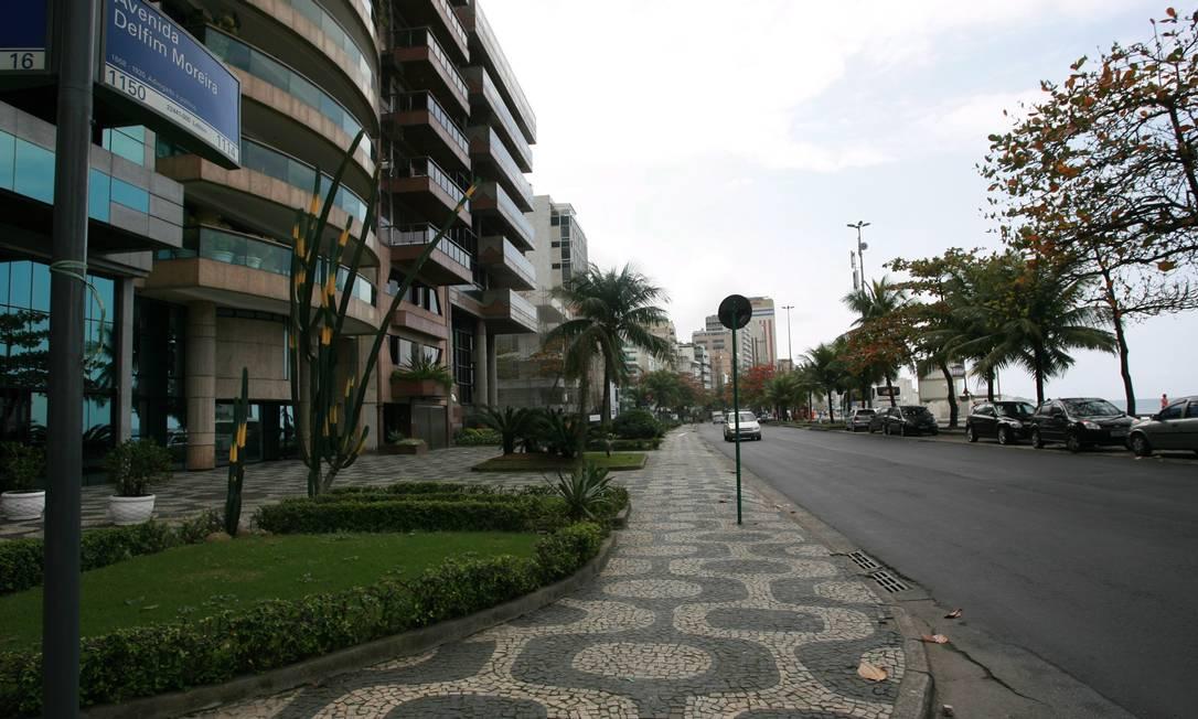 Avenida Delfim Moreira, no Leblon, Zona Sul do Rio: um dos metros quadrados mais caros do Brasil Foto: Hudson Pontes / Agência O Globo