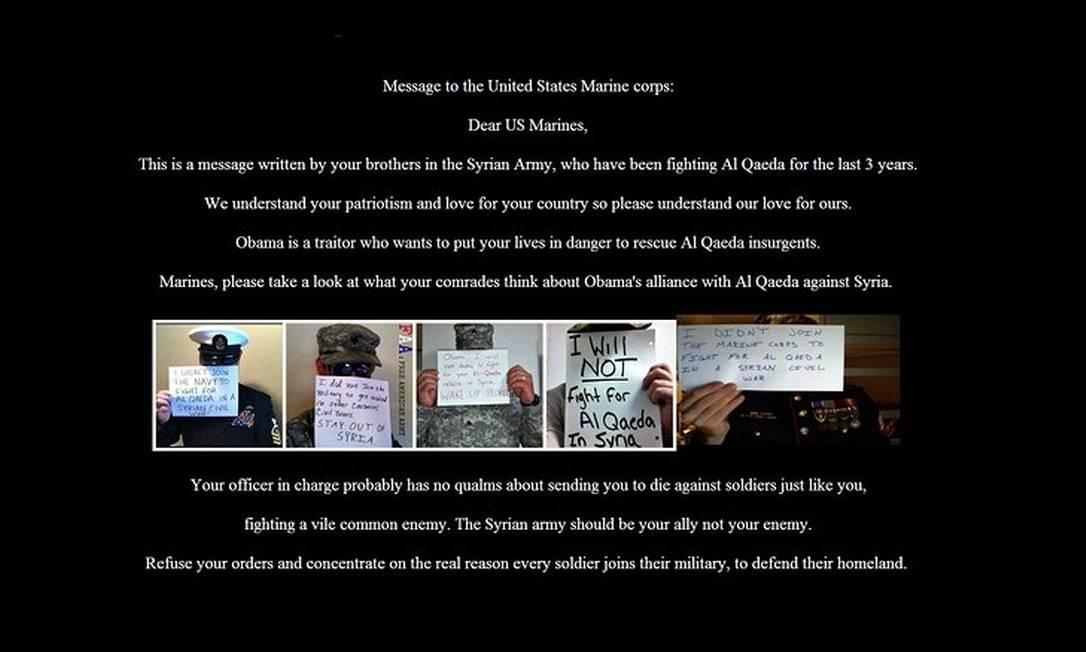 Mensagem postada no site de recrutamento dos fuzileiros Foto: Reprodução / Internet