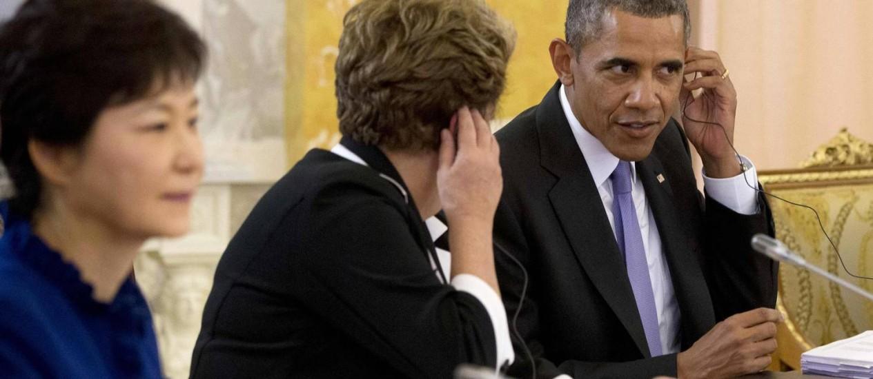 A presidente Dilma Rousseff, ao lado do presidente dos EUA Barack Obama, durante a cúpula do G-20, na Rússia Foto: POOL / REUTERS
