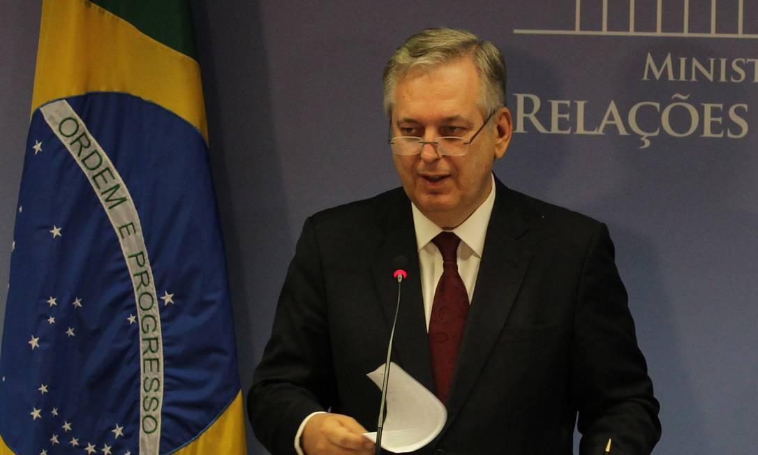 O ministro das Relações Exteriores, Luiz Alberto Figueiredo Machado, durante entrevista no Palácio Itamaraty, no dia 2 Foto: Ailton de Freitas / O Globo