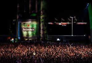 Comparando o período anterior ao Rock in Rio 2011 e as semanas seguintes, a Heineken teve um aumento de conhecimento de marca de 58%, aponta a Millward Brown. Empresa vai investir 53% mais na edição 2013 do festival, cerca de R$ 23 milhões Foto: Divulgação