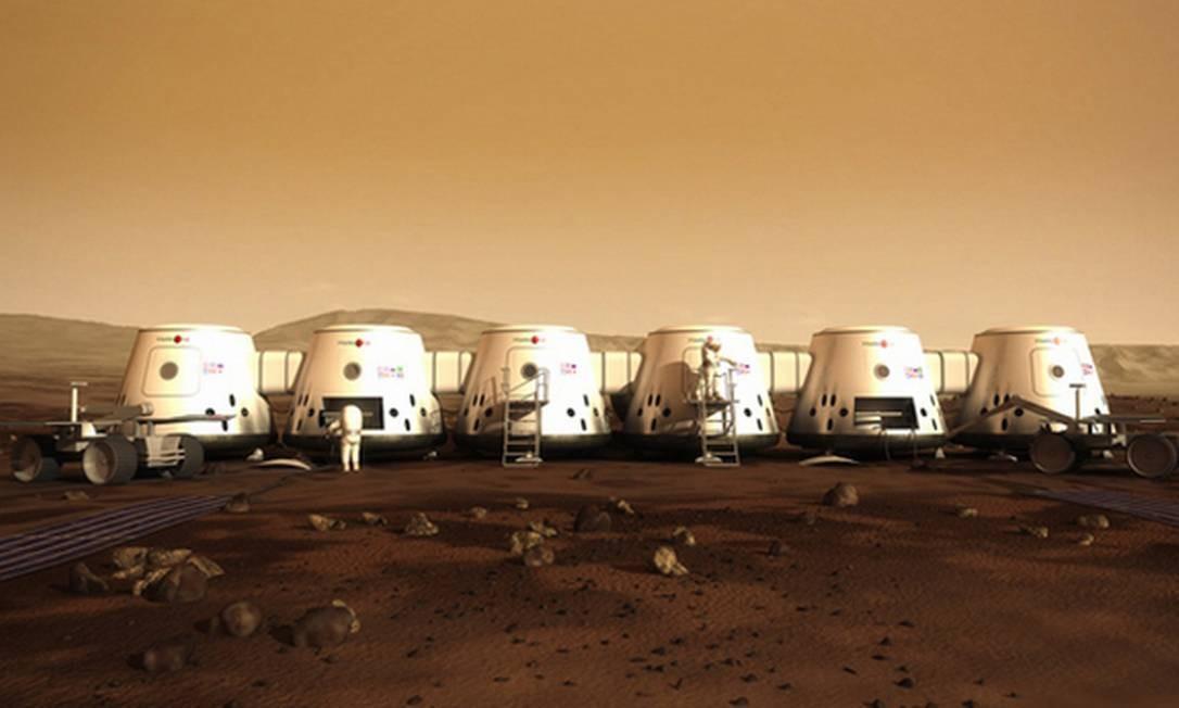 Ilustração mostra como seria a primeira colônia humana em Marte imaginada pela Mars One Foto: Mars One / Bryan Versteeg
