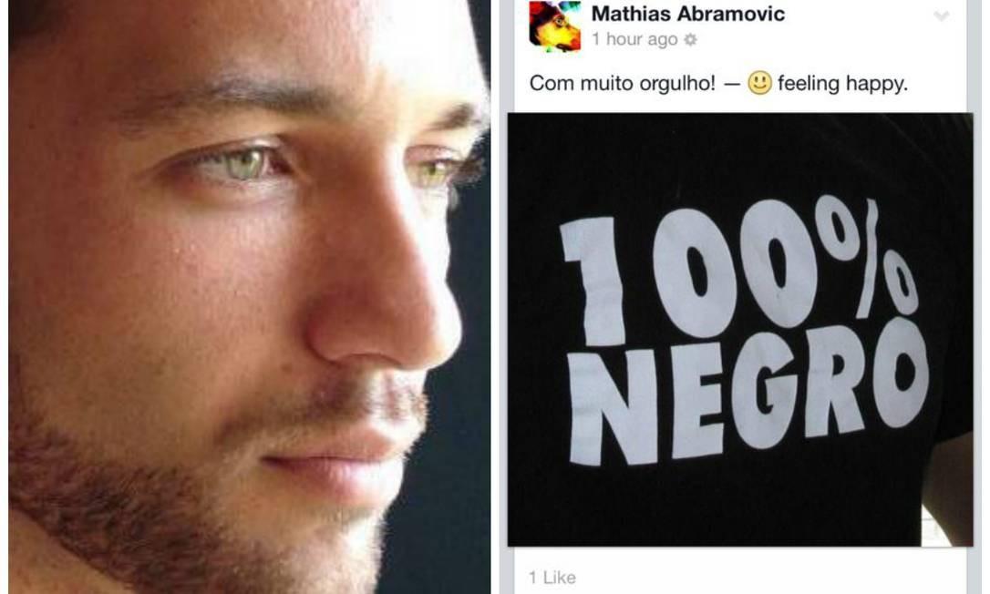 Mathias Abramovic com foto postada em seu Facebook após saber que fora aprovado como afrodescentende na 1ª fase do Itamaraty Foto: Reproduções da internet