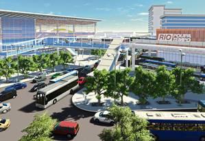 Integração. A nova estação teria cobertura e rampas de acesso ao terminal rodoviário e ao BRT Foto: Terceiro / Divulgação