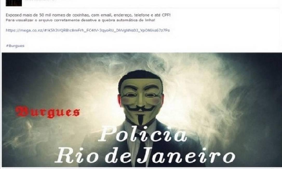 """Hackers usam no perfil do Facebook a foto da máscara que ganhou fama com o filme """"V de Vingança"""" Foto: Reprodução"""