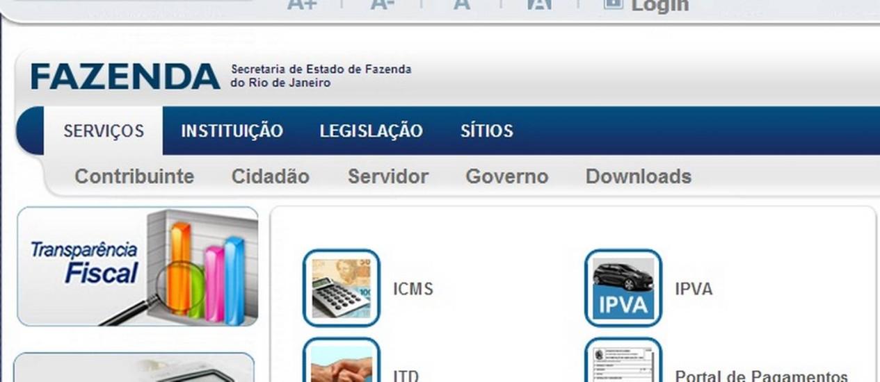 Página da Secretaria estadual de Fazenda Foto: Reprodução internet