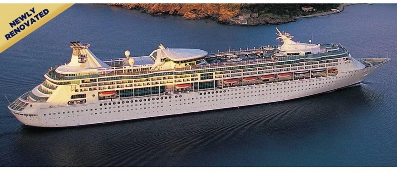 Navio Grandeur of the Seas, um dos afetados pelo surto da doença, da empresa americana Royal Caribbean Foto: Reprodução/ Royalcaribbean.com.br