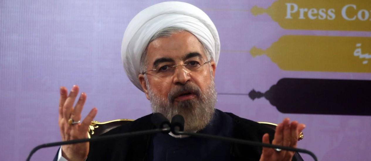 O presidente Hassan Rouhani fala durante coletiva de imprensa em Teerã Foto: Atta Kenare / AFP