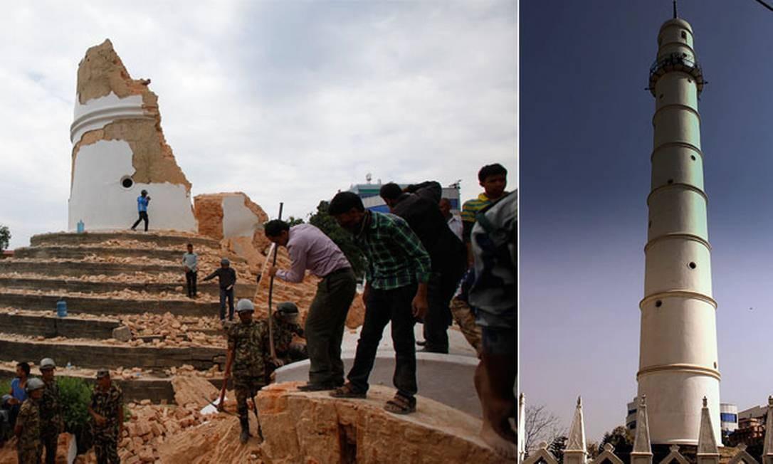 A Torre Dharahara, marco histórico em Katmandu, ficou totalmente destruída com o tremor Foto: Fotos de Niranjan Shrestha / AP e calflier001/ Wikimedia Commons / Fotos de Niranjan Shrestha / AP e calflier001/ Wikimedia Commons