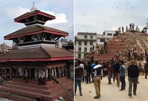 Os prédios na Durbar Square, antes e depois do terremoto em Katmandu Foto: Shaswat Narendra, Wikimedia Commons e Prakash Mathema/AFP