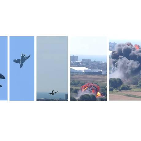 Sequência da queda da aeronave a partir do vídeo no YouTube postado por 'Dan Tube' Foto: Reprodução / YouTube