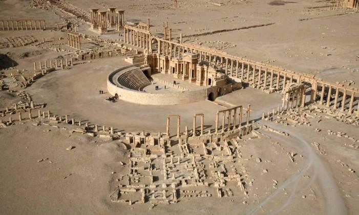 Parte da antiga cidade de Palmira, na Síria. Foto: CHRISTOPHE CHARON / AFP