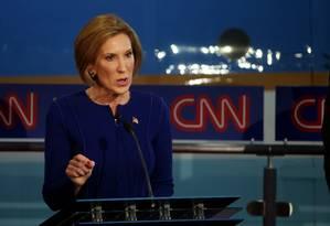 Carly Fiorina participa de debate republicano na Califórnia Foto: JUSTIN SULLIVAN / AFP