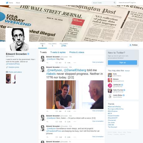 Página de Edward Snowden no Twitter: ex-técnico da CIA reúne mais de 250 mil seguidores em poucas horas Foto: Reprodução