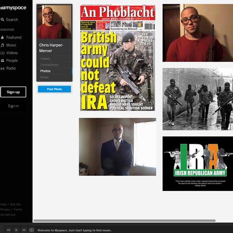 Página de Chris Harper Mercer em rede social exibe fotos de solados do IRA Foto: Reprodução