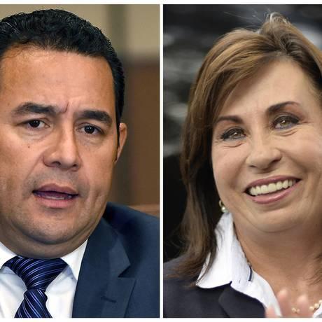 Jimmy Morales e Sandra Torres se enfrentam pela Presidência da Guatemala Foto: Orlando Estrada/Johan Ordonez / AFP
