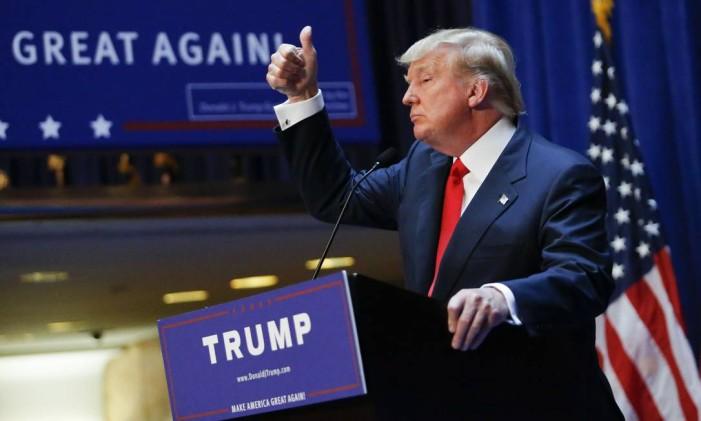 Candidato à presidência americana, Donald Trump faz discurso de campanha Foto: KENA BETANCUR / AFP
