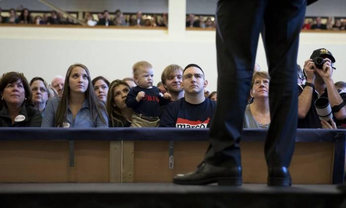 Marco Rubio participa de evento de campanha na Virginia, um dos estados que participa da Super Terça Foto: Drew Angerer / AFP