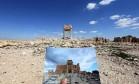 Fotógrafo mostra como era o Templo de Bel, da era romana, e como está após a passagem do EI Foto: JOSEPH EID / AFP