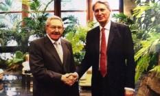 Hammond e Raúl Castro Foto: Reprodução / Twitter