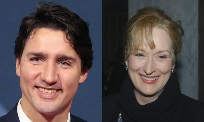 Meryl Streep e Justin Trudeau. Há alguma semelhança? Foto: RTVM/REUTERS