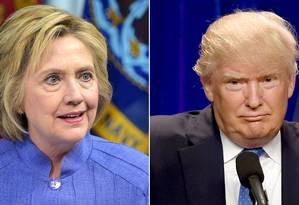 Hillary Clinton e Donald Trump Foto: DSK / AFP