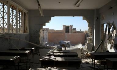 Sala de aula destruída na província de Idlib, na Síria Foto: Ammar Abdullah / Reuters