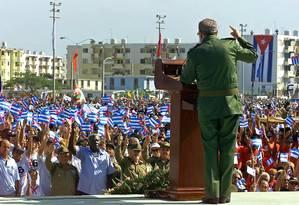 Fidel Castro em discurso em 2000 Foto: AFP/ADALBERTO ROQUE