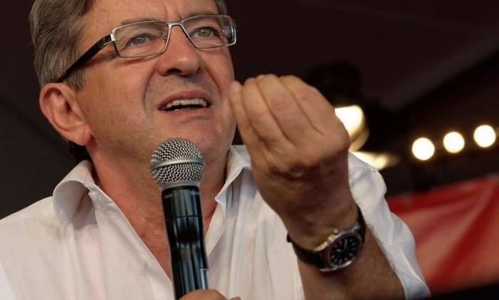 Jean-Luc Mélenchon faz discurso. Foto: REPRODUÇÃO