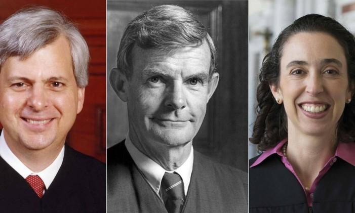 Os três juízes da corte de apelação federal que julgaram o caso sobre o veto de Trump: Richard Clifton, William Canby e Michelle Friedland, Foto: - / AFP