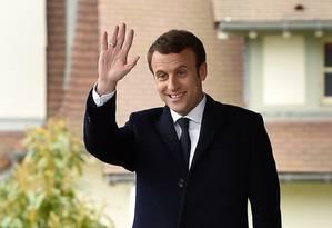 O candidato à presidência da França, do movimento
