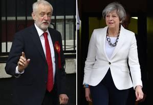 O líder do Partido Trabalhista, Jeremy Corbyn, e a primeira-ministra do Reino Unido, Theresa May Foto: DANIEL LEAL-OLIVAS / AFP
