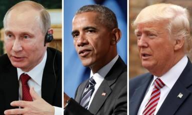 O presidente russo Vladimir Putin, o ex-presidente Barack Obama e o presidente dos EUA, Donald Trump Foto: