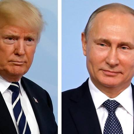 Os presidentes Donald Trump (EUA) e Vladimir Putin (Rússia) Foto: CARLOS BARRIA / REUTERS