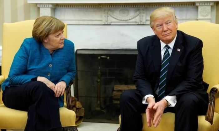 O presidente dos EUA, Donald Trump, e a chanceler alemã, Angela Merkel Foto: Jonathan Ernst / Reuters