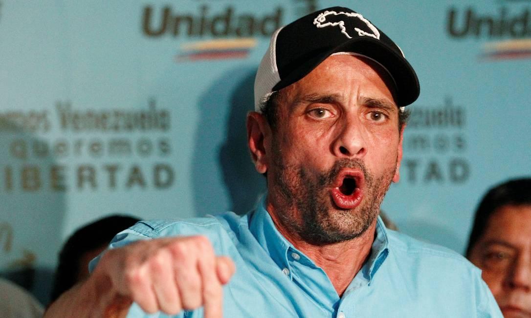 Líder opositor e governador do Estado de Miranda, Henrique Capriles Foto: CHRISTIAN VERON / REUTERS