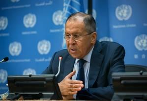 O ministro das Relações Exteriores da Rússia, Sergei Lavrov Foto: Kevin Hagen / AFP