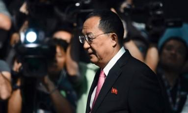 O ministro do Exterior da Coreia do Norte, Ri Yong-ho Foto: JEWEL SAMAD / AFP
