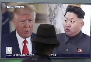 O presidente dos EUA, Donald Trump, e o líder norte-coreano Kim Jong-un Foto: Ahn Young-joon / AP