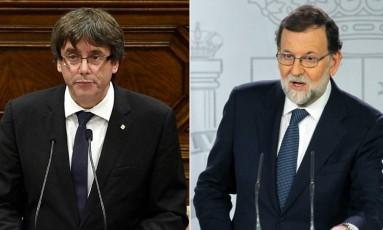 O presidente regional da Catalunha, Carles Puigdemont (esq.) e o presidente do governo da Espanha, Mariano Rajoy Foto: AFP