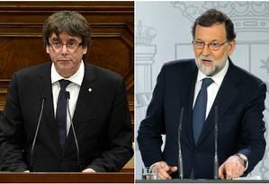O líder separatista catalão, Carles Puigdemont (esq.) e o presidente do governo da Espanha, Mariano Rajoy Foto: AFP