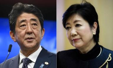 O premier japonês, Shinzo Abe e a governadora de Tóquio, Yuriko Koike Foto: AFP