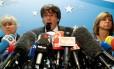 O líder catalão destituído, Carles Puigdemont, em coletiva de imprensa em Bruxelas