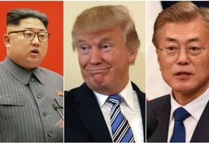 O líder norte-coreano Kim Jong-un; o presidente americano Donald Trump e o chefe de Estado sul-coreano Moon Jae-in Foto: Reuters