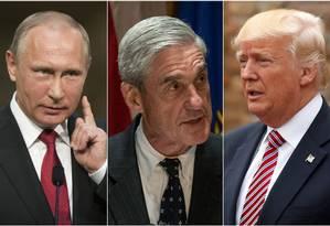 O procurador especial Robert Mueller entre os presidentes Vladimir Putin (Rússia) e Donald Trump (Estados Unidos) Foto: AFP/Reuters