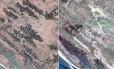 Imagem de satélite mostra antes (20/dez) e depois (13/fev) da vila de Zone Kar Yar. Moradias na comunidade foram demolidas pelo Exército de Mianmar Foto: AP via Digital Globe