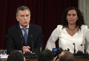 O presidente argentino Mauricio Macri discursa ao Congresso acompanhado da vice-presidente Gabriela Michetti Foto: JUAN MABROMATA / AFP