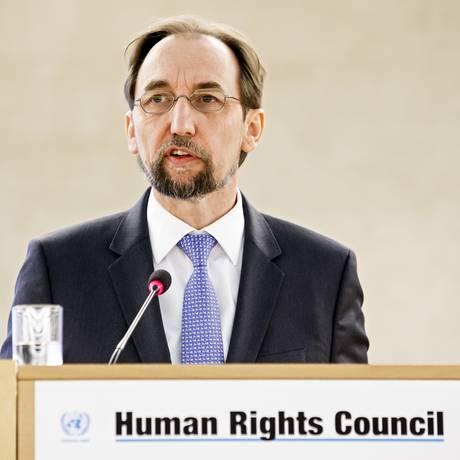 O comissário da ONU para direitos humanos, Zeid Ra'ad al Hussein, condena crise sócio-econômica na Venezuela Foto: SALVATORE DI NOLFI / AP