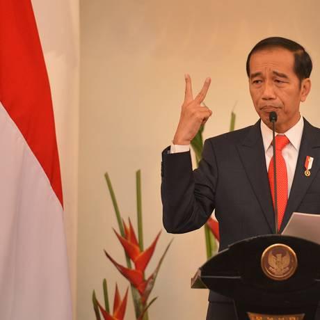 Presidente da Indonésia, Joko Widodo, durante discurso em Jacarta. Radicais islâmicos tentam desestabilizar seu governo. Foto: ANTARA FOTO / REUTERS